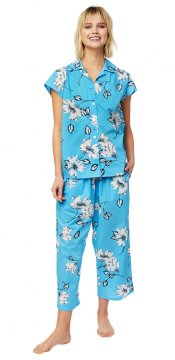 The Cat's Pajamas Women's Charlotte Luxe Pima Capri Pajama Set in Blue