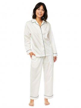 The Cat's Pajamas Women's Classic White Luxe Pima Pajama Set