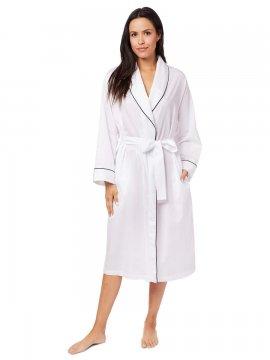 The Cat's Pajamas Women's Classic White Luxe Pima Shawl Collar Robe