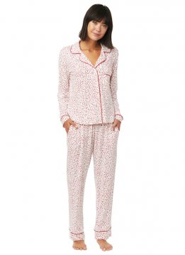 The Cat's Pajamas Women's Confetti Dot Pima Knit Classic Pajama Set in Red