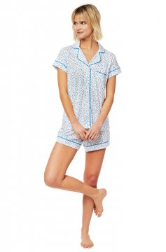 The Cat's Pajamas Women's Confetti Dot Pima Knit Shorts Set in Blue