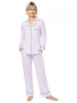 The Cat's Pajamas Women's Confetti Dot Pima Knit Classic Set in Lavender