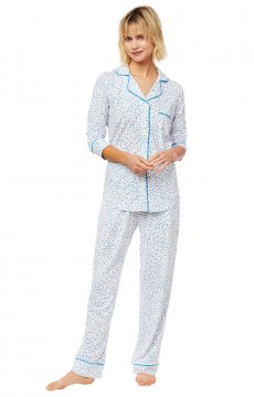The Cat's Pajamas Women's Confetti Dot Pima Knit Classic Pajama Set in Blue