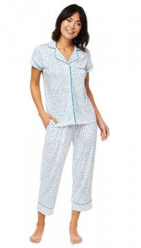 The Cat's Pajamas Women's Confetti Dot Pima Knit Capri Pajama Set in Blue