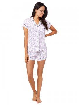 The Cat's Pajamas Women's Confetti Dot Pima Knit Shorts Set in Lavender