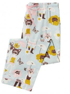 The Cat's Pajamas Women's Cool Cat Poplin Pajama Pant in Blue