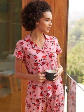 The Cat's Pajamas Women's Daphne Pima Knit Capri Pajama Set