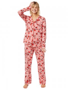 The Cat's Pajamas Women's Daphne Pima Knit Classic Pajama Set