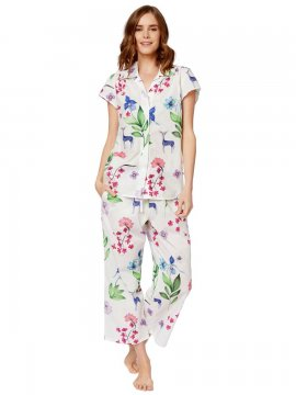 The Cat's Pajamas Women's Deerly Luxe Pima Capri Pajama Set