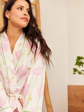 The Cat's Pajamas Women's Emma Rose Pima Knit Kimono Robe