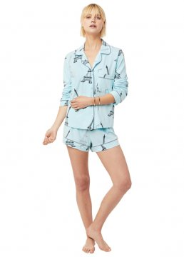The Cat's Pajamas Women's Etched Eiffel Pima Knit Long Sleeved Short Set