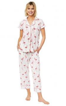 The Cat's Pajamas Women's Flamazing Pima Knit Capri Pajama Set
