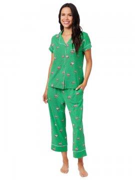 The Cat's Pajamas Women's Flamazing Pima Knit Capri Pajama Set in Emerald
