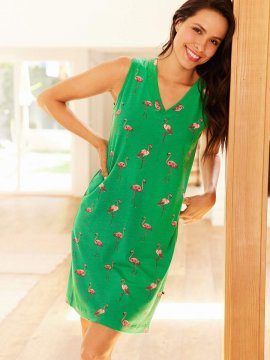 The Cat's Pajamas Women's Flamazing Pima Knit Nightgown in Emerald