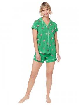 The Cat's Pajamas Women's Flamazing Pima Knit Shorts Set in Emerald