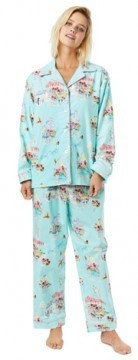 The Cat's Pajamas Women's Flower Cart Flannel Classic Pajama Set in Blue