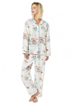 The Cat's Pajamas Women's Flower Cart Classic Flannel Pajama Set in White