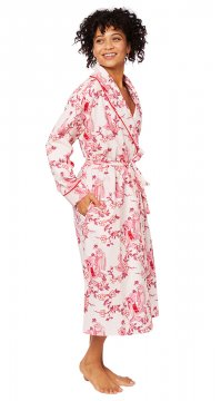 The Cat's Pajamas Women's Geisha Flannel Robe in Red