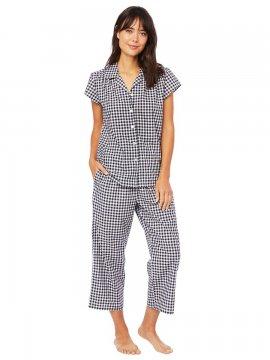 The Cat's Pajamas Women's Black Gingham Luxe Pima Capri Pajama Set