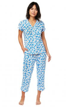 The Cat's Pajamas Women's Harper Pima Knit Capri Pajama Set in Blue