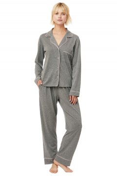 The Cat's Pajamas Women's Heather Grey Pima Knit Classic Pajama Set