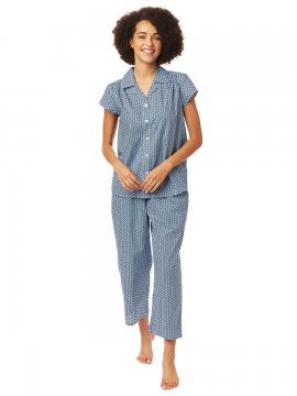 The Cat's Pajamas Women's Hudson Luxe Pima Capri Pajama Set in Blue