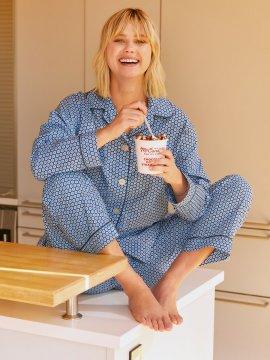 The Cat's Pajamas Women's Hudson Luxe Pima Classic Pajama Set in Blue