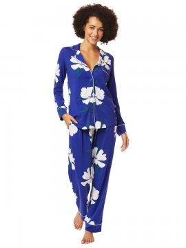 The Cat's Pajamas Women's Icelandic Poppy Pima Knit Classic Pajama Set in Blue