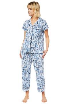 The Cat's Pajamas Women's Ikat Pima Knit Capri Pajama Set