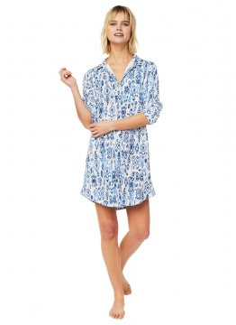 The Cat's Pajamas Women's Ikat Pima Knit Classic Nightshirt in Blue