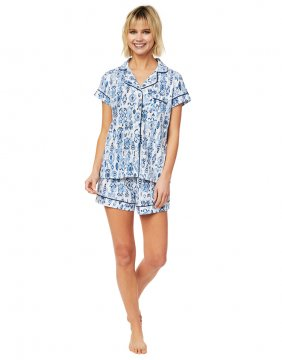 The Cat's Pajamas Women's Ikat Pima Knit Shorts Set in Blue