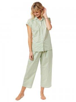 The Cat's Pajamas Women's Kelly Check Luxe Pima Capri Pajama Set