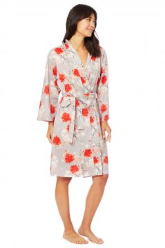 The Cat's Pajamas Women's Kiku Luxe Pima Cotton Kimono Robe