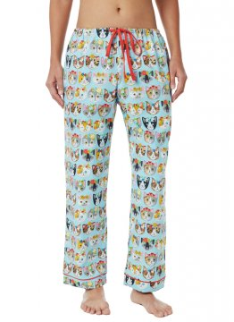 The Cat's Pajamas Women's Flower Kitty Cotton Poplin Pajama Pant