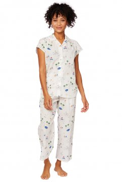The Cat's Pajamas Women's La Mer Luxe Pima Capri Pajama Set