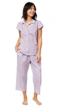 The Cat's Pajamas Women's Lavender Check Luxe Pima Capri Pajama Set