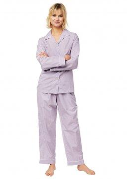 The Cat's Pajamas Women's Lavender Check Luxe Pima Classic Pajama Set