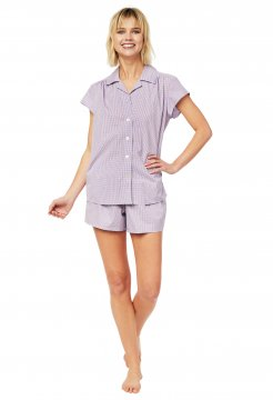 The Cat's Pajamas Women's Lavender Check Luxe Pima Shorts Set