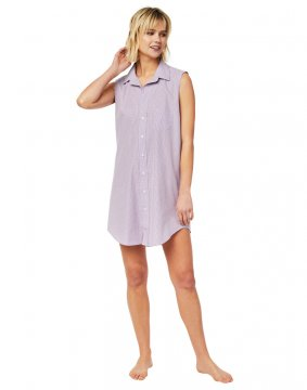 The Cat's Pajamas Women's Lavender Check Luxe Pima Classic Sleeveless Nightshirt