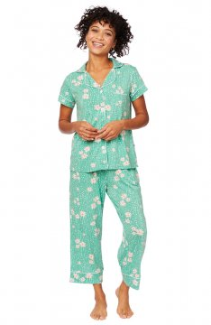 The Cat's Pajamas Women's Lazy Daisy Pima Knit Capri Pajama Set