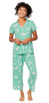 The Cat's Pajamas Women's Lazy Daisy Pima Knit Capri Pajama Set
