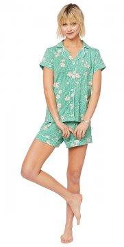 The Cat's Pajamas Women's Lazy Daisy Pima Knit Short Set