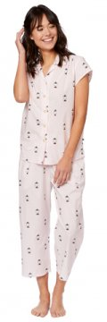 The Cat's Pajamas Women's Little Yogi Luxe Pima Capri Pajama Set in Pink