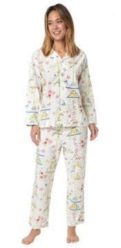 The Cat's Pajamas Women's Lovebirds Poplin Cotton Pajama Set in White
