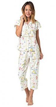 The Cat's Pajamas Women's Lovebirds Poplin Cotton Capri Pajama Set