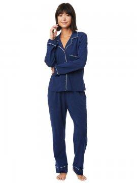 The Cat's Pajamas Women's Marine Blue Pima Knit Classic Pajama Set