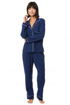The Cat's Pajamas Women's Marine Blue Pima Knit Classic Pajama Set