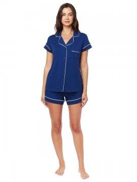 The Cat's Pajamas Women's Marine Blue Pima Knit Short Set