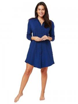 The Cat's Pajamas Women's Marine Blue Pima Knit Classic Nightshirt