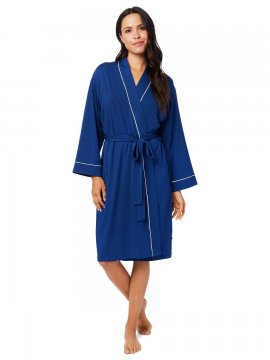 The Cat's Pajamas Women's Marine Blue Pima Knit Kimono  Robe